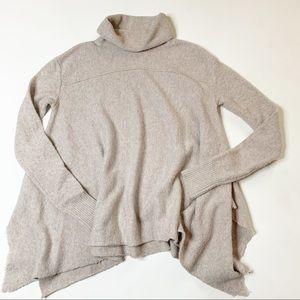 Free People turtle neck beige sweater asymmetric